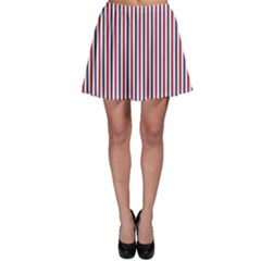 USA Flag Red and Flag Blue Narrow Thin Stripes  Skater Skirt