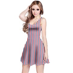 USA Flag Red and Flag Blue Narrow Thin Stripes  Reversible Sleeveless Dress