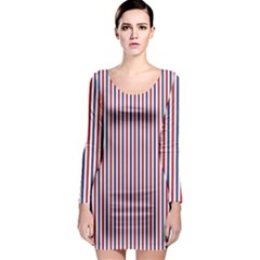 USA Flag Red and Flag Blue Narrow Thin Stripes  Long Sleeve Bodycon Dress