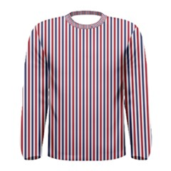 USA Flag Red and Flag Blue Narrow Thin Stripes  Men s Long Sleeve Tee