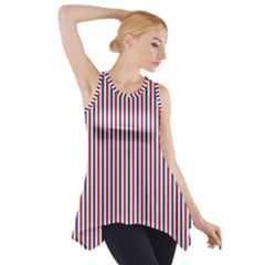 USA Flag Red and Flag Blue Narrow Thin Stripes  Side Drop Tank Tunic