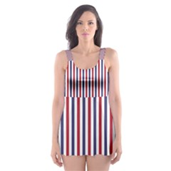 USA Flag Red and Flag Blue Narrow Thin Stripes  Skater Dress Swimsuit