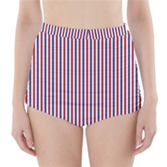 USA Flag Red and Flag Blue Narrow Thin Stripes  High-Waisted Bikini Bottoms