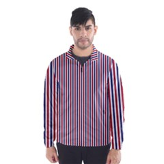 USA Flag Red and Flag Blue Narrow Thin Stripes  Wind Breaker (Men)