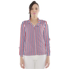 USA Flag Red and Flag Blue Narrow Thin Stripes  Wind Breaker (Women)
