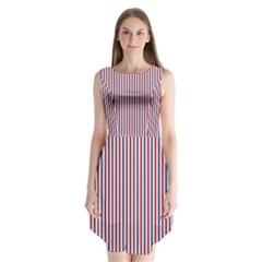 USA Flag Red and Flag Blue Narrow Thin Stripes  Sleeveless Chiffon Dress