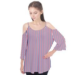 USA Flag Red and Flag Blue Narrow Thin Stripes  Flutter Tees