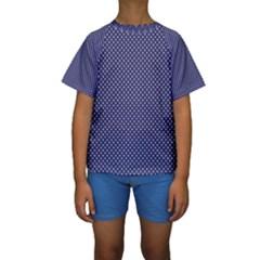 USA Flag White Stars on Flag Blue Kids  Short Sleeve Swimwear