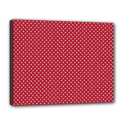 Usa Flag White Stars On American Flag Red Canvas 14  X 11