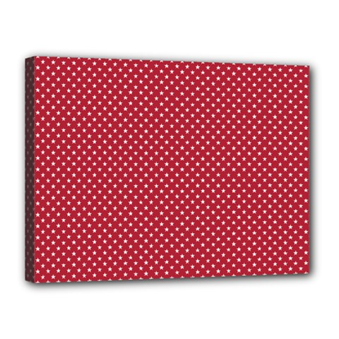 USA Flag White Stars on American Flag Red Canvas 16  x 12