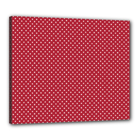 USA Flag White Stars on American Flag Red Canvas 24  x 20