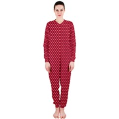 USA Flag White Stars on American Flag Red OnePiece Jumpsuit (Ladies)