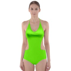 Super Bright Fluorescent Green Neon Cut-Out One Piece Swimsuit