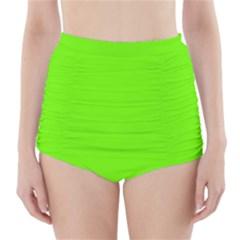 Super Bright Fluorescent Green Neon High Waisted Bikini Bottoms