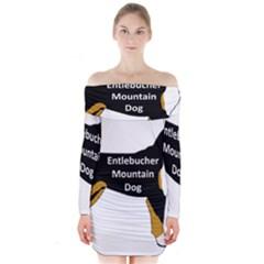 Entlebucher Mt Dog Name Silo Color Long Sleeve Off Shoulder Dress