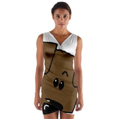 Peeping Chocolate Lab Wrap Front Bodycon Dress