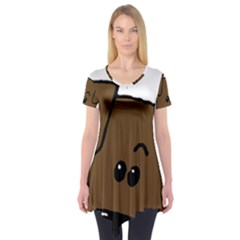 Peeping Chocolate Lab Short Sleeve Tunic