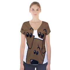 Peeping Chocolate Lab Short Sleeve Front Detail Top
