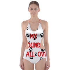 My Newfie Walks On Me Cut-Out One Piece Swimsuit