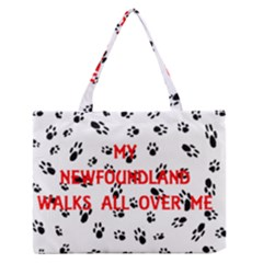 My Newfie Walks On Me Medium Zipper Tote Bag
