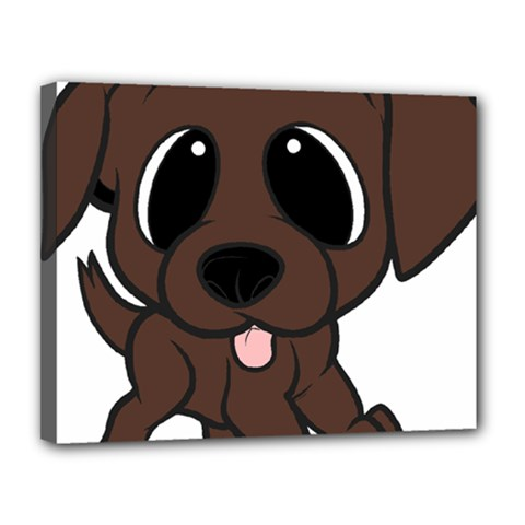 Newfie Brown Cartoon Canvas 14  x 11