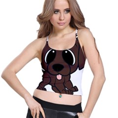 Newfie Brown Cartoon Spaghetti Strap Bra Top