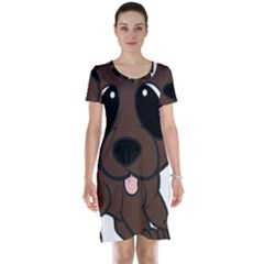 Newfie Brown Cartoon Short Sleeve Nightdress