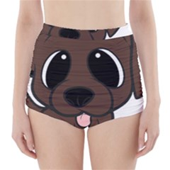 Newfie Brown Cartoon High-Waisted Bikini Bottoms