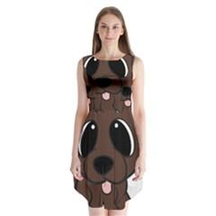 Newfie Brown Cartoon Sleeveless Chiffon Dress
