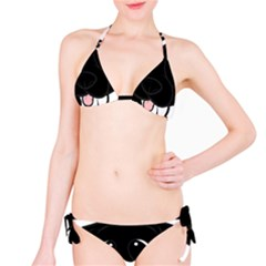Newfie Cartoon Black White Bikini Set