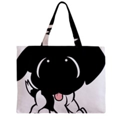 Newfie Cartoon Black White Zipper Mini Tote Bag