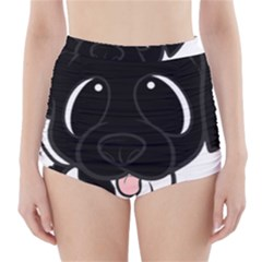 Newfie Cartoon Black White High-Waisted Bikini Bottoms