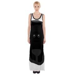 Newfie Dog Head Cartoon Maxi Thigh Split Dress