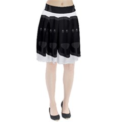 Newfie Dog Head Cartoon Pleated Skirt