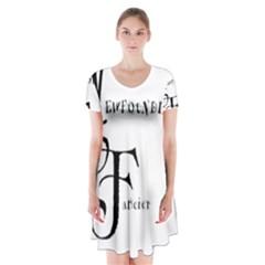 Newfie Fancier Short Sleeve V-neck Flare Dress