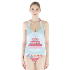 Birthday Cake Halter Swimsuit