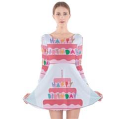 Birthday Cake Long Sleeve Velvet Skater Dress