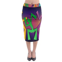 Dance Dance Dance Midi Pencil Skirt