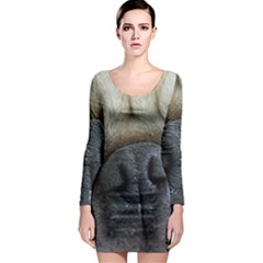 Pug Fawn Eyes Long Sleeve Bodycon Dress