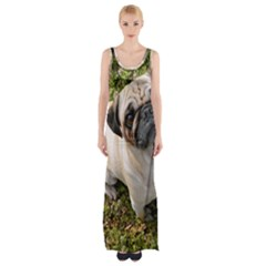 Pug Fawn Full Maxi Thigh Split Dress