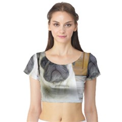 Pug Laying Short Sleeve Crop Top (Tight Fit)
