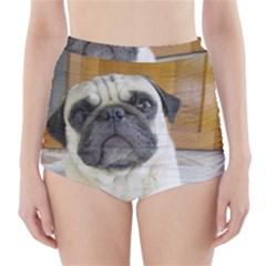 Pug Laying High-Waisted Bikini Bottoms