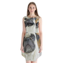 Pug Laying Sleeveless Chiffon Dress
