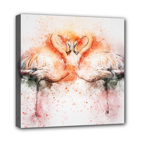Flamingo Absract Mini Canvas 8  x 8