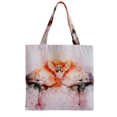 Flamingo Absract Zipper Grocery Tote Bag
