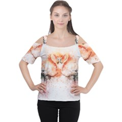 Flamingo Absract Women s Cutout Shoulder Tee