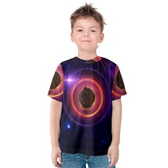 The Little Astronaut on a Tiny Fractal Planet Kids  Cotton Tee