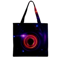 The Little Astronaut on a Tiny Fractal Planet Zipper Grocery Tote Bag