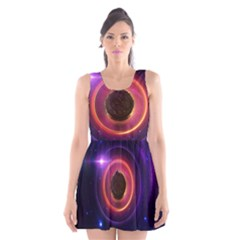 The Little Astronaut on a Tiny Fractal Planet Scoop Neck Skater Dress
