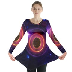The Little Astronaut on a Tiny Fractal Planet Long Sleeve Tunic
